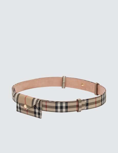 버버리 벨트백 Burberry Envelope Leather Check Belt Bag