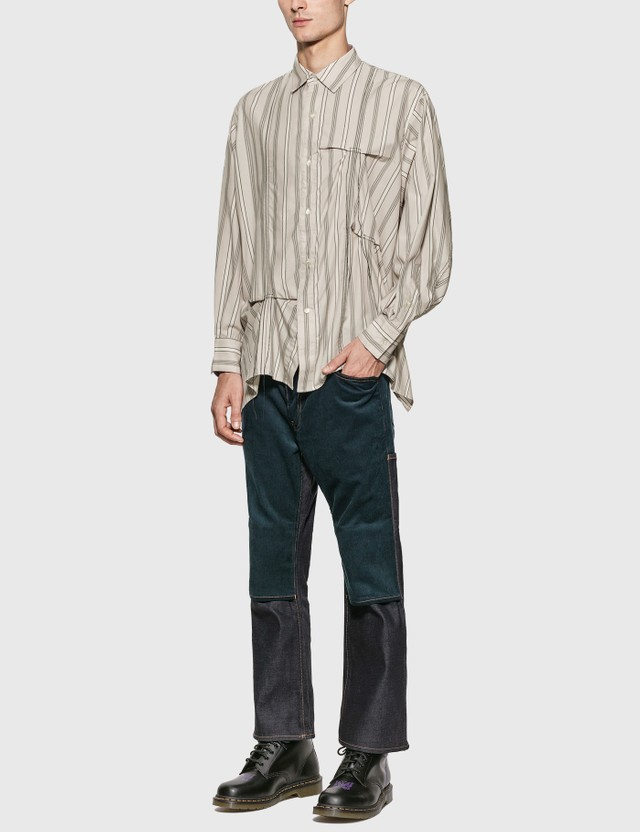 JieDa Hand Stitch Stripe Shirt Beige Men