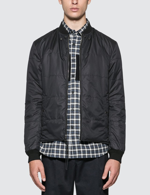 Lanvin Reversible Quilted Teddy Jacket Dark Khaki / Dark Blue Men