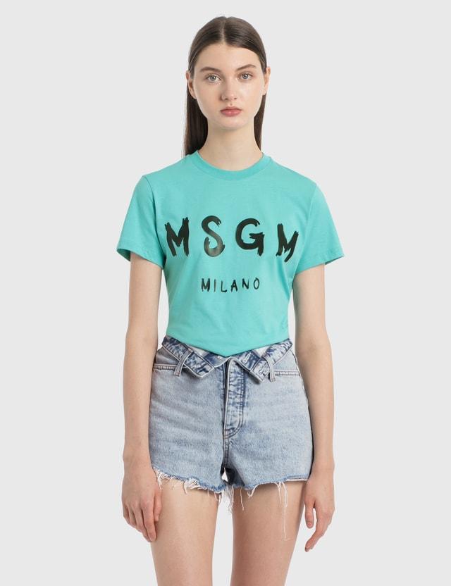 MSGM 브러쉬 로고 티셔츠 Light Blue Women