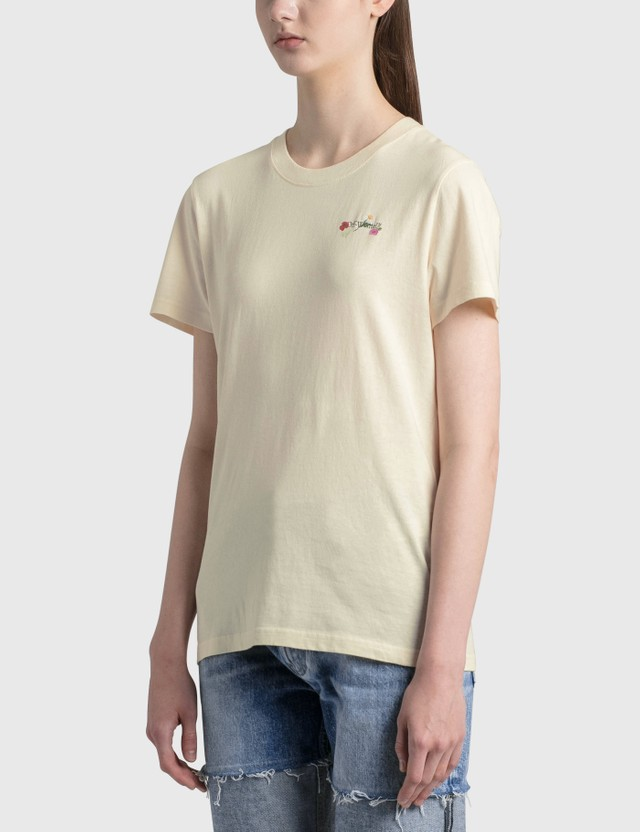 Off-White Embroidered Arrow Flowers Casual T-shirt Beige Mul Women