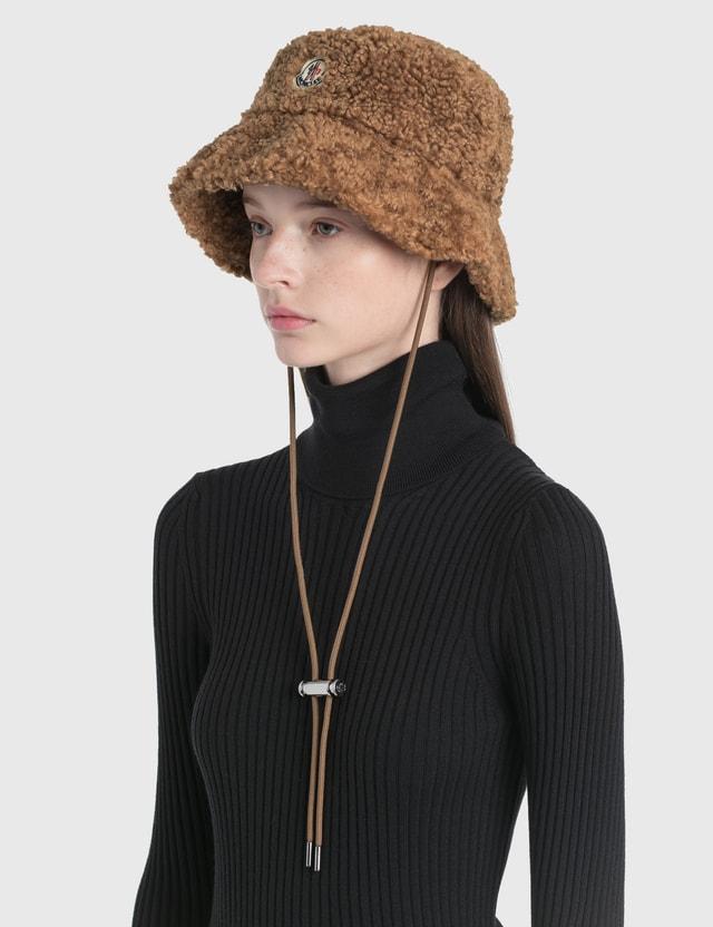 Moncler Shearling Hat Beige Women