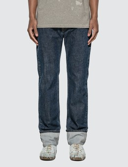 Helmut Lang Dark Cuffed Masc Hi Straight Denim Jeans