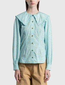 Ganni Printed Cotton Poplin Shirt