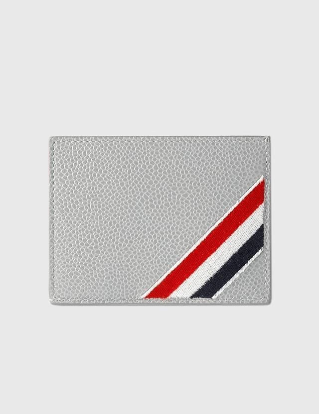 Thom Browne Single Card Holder Light Grey Men