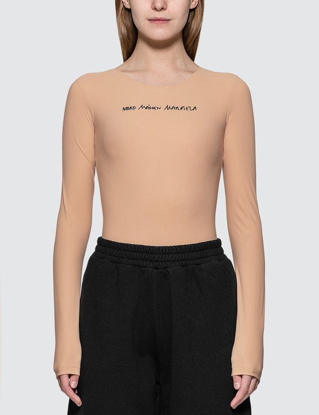 MM6 Maison Margiela Logo Long-sleeve Jersey Bodysuit