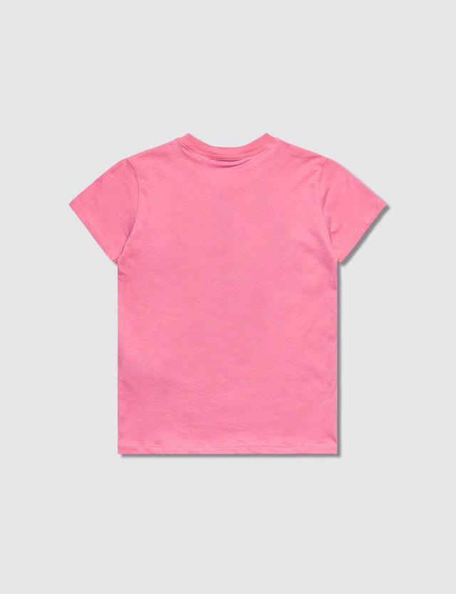 MSGM K's Pink Brush Stroke Logo Print T-Shirt