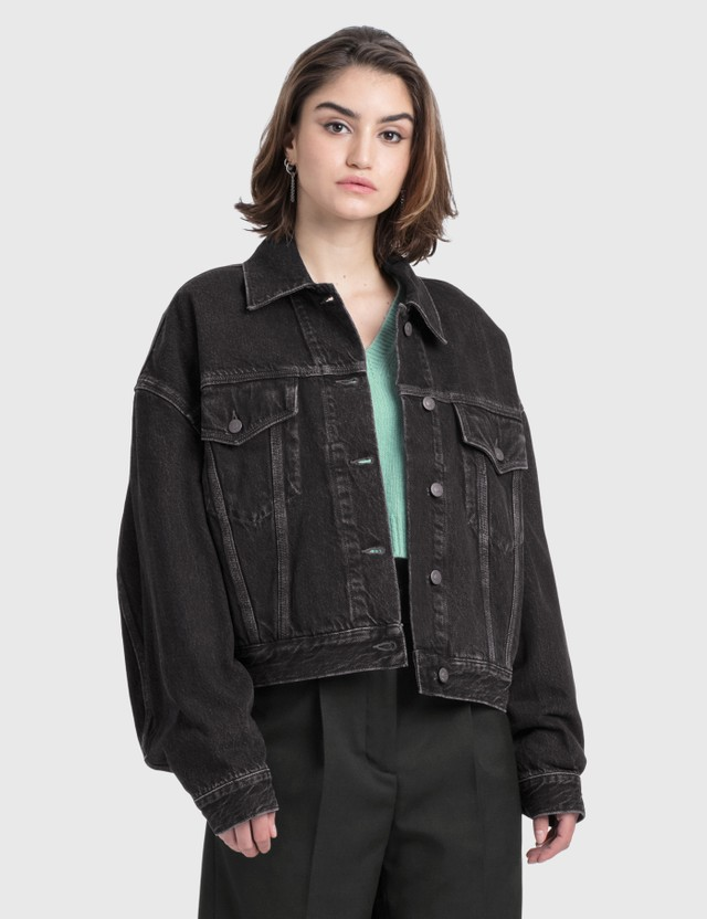 Acne Studios Morris Cropped Vintage Denim Jacket Black Women