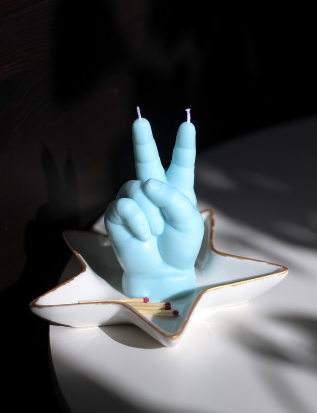 Candle Hand PEACE Baby Hand Candle Blue Unisex