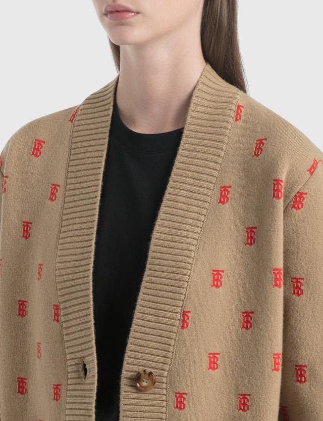 Burberry Monogram Wool Cashmere Blend Oversized Cardigan Archive Beige Women