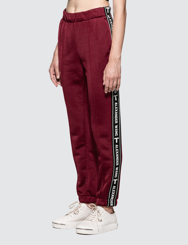 Alexander Wang.T Sleek French Terry Pull-On Track Pant with Logo Tape Red Women