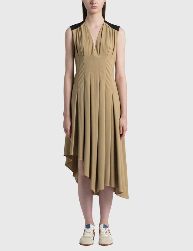 Loewe Sleeveless Pleated Dress Taupe/black Women
