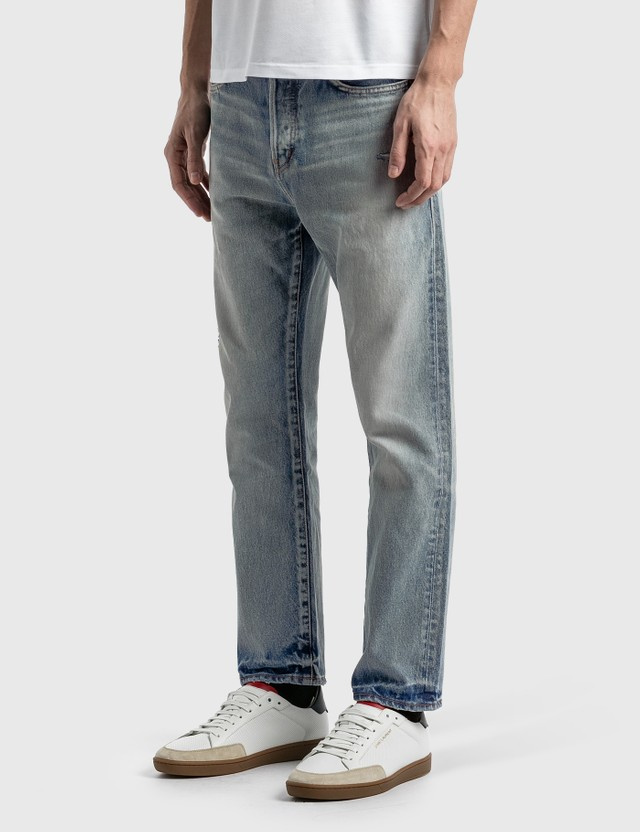 Saint Laurent High Waisted Straight Jeans Light Fall Blue Men