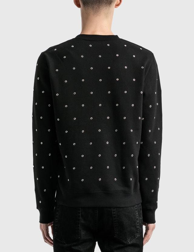Saint Laurent Saint Laurent Logo Sweatshirt With Eyelets Noir/argent/naturel Men