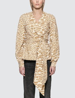 Ganni Printed Cotton Poplin Wrap Shirt