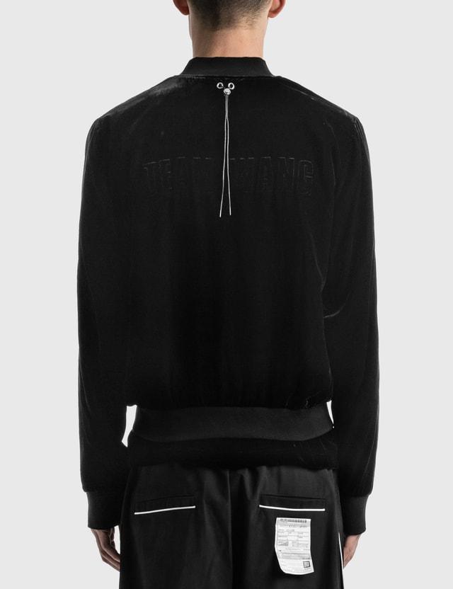 Team Wang Printed Logo Velvet Bomber Jacket Black Men