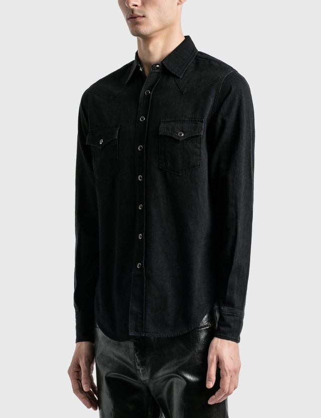 Saint Laurent Classic Western Shirt Black Stonewash Men
