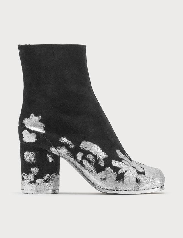 Maison Margiela Tabi Suede Silver Foil Ankle Boots