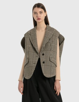 MM6 Maison Margiela Circle Sleeveless Blazer In Shetland Check Wool