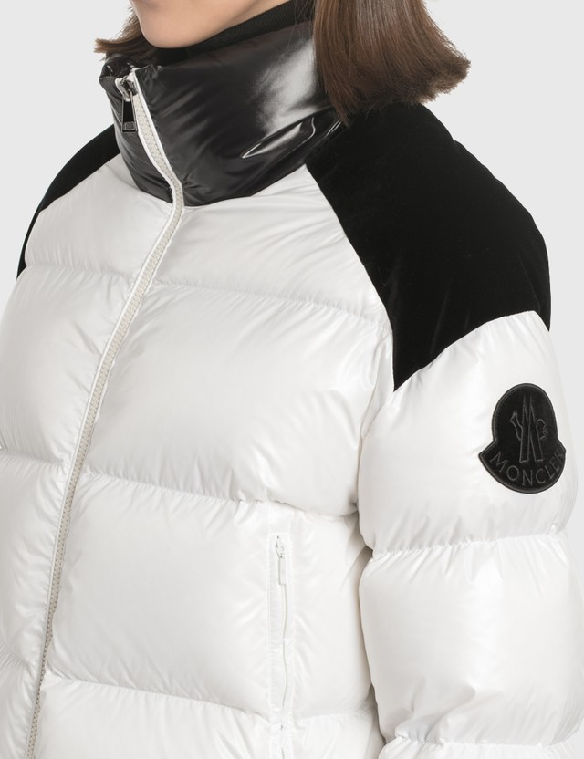 Moncler Velvet Panelled Down Jacket White Women