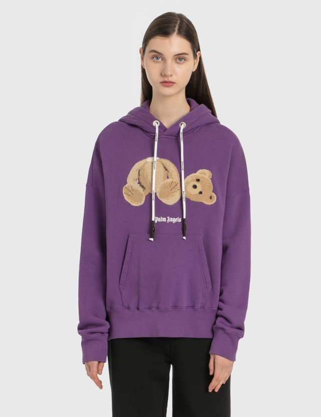 Palm Angels Palm Angels Bear Hoodie Purple Brown Women