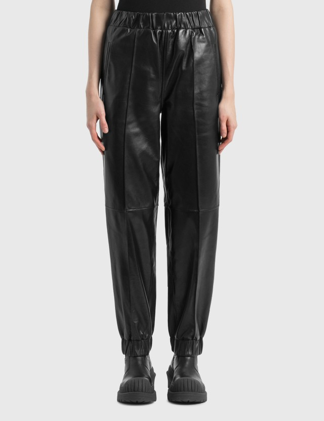 Ganni Lamb Leather Pants Black Women