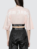 Palm Angels Cropped Logo Over Short Sleeve T-shirt