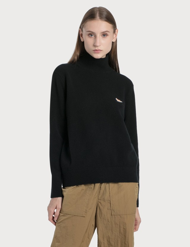 Maison Kitsune Profile Fox Patch High Neck Pullover Black Women