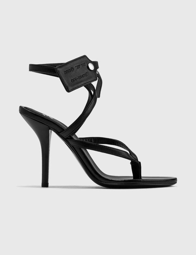 Off-White Zip Tie Leather Sandal Black No Color Women