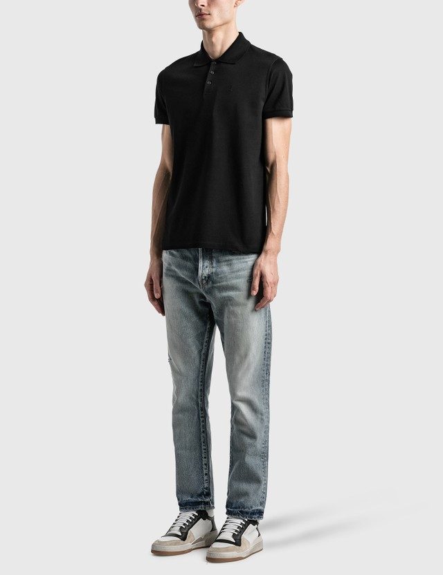 Saint Laurent Monogram Polo Shirt Noir Men