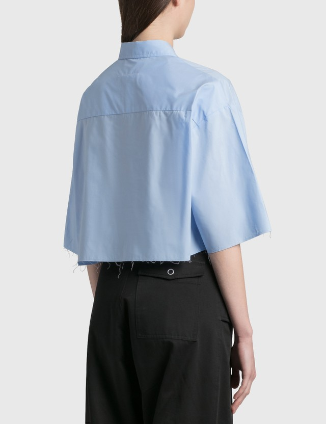 MM6 Maison Margiela Poplin Cotton Cropped Shirt Sky Blue Women