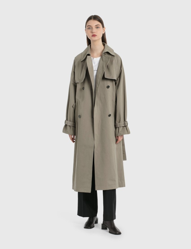 Acne Studios Double-Breasted Trench Coat Stone Grey Women
