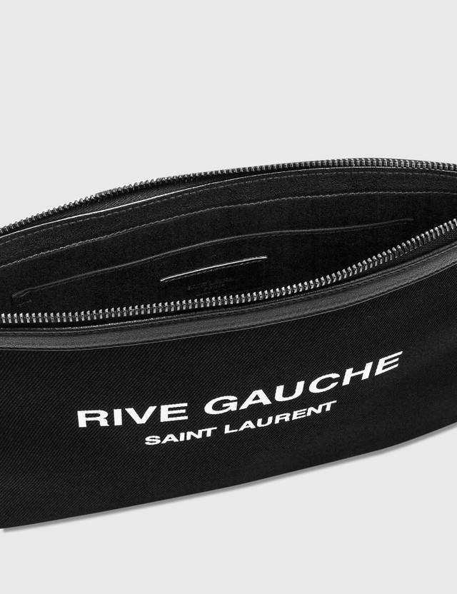 Saint Laurent RIVE GAUCHE Zippered Pouch Nero/bianco/nero Men