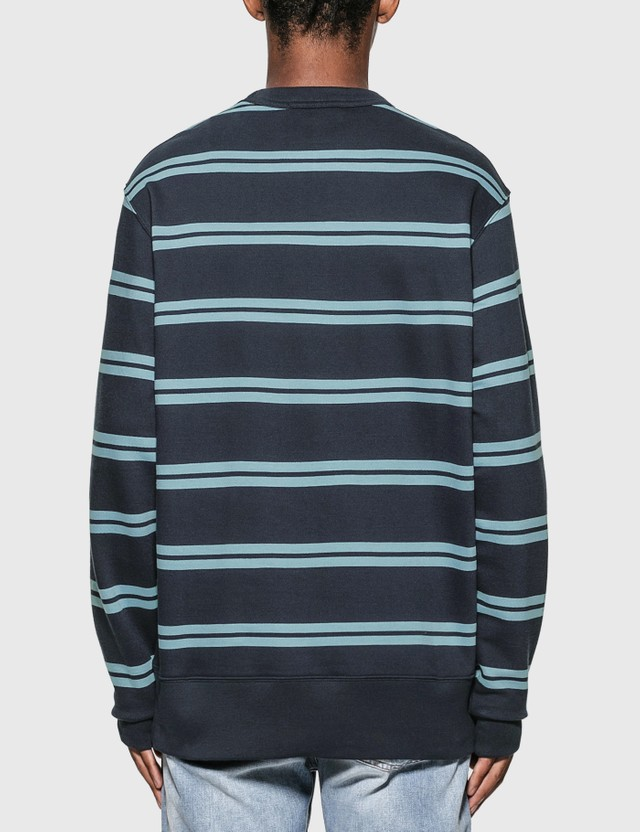 Acne Studios Oversized Stripe Sweatshirt Navy Blue Men