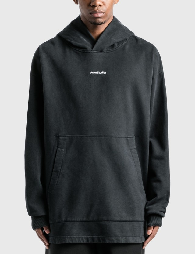 Acne Studios Logo Print Garment Dyed Hoodie Black Men