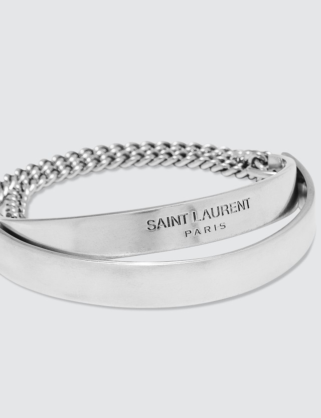 Saint Laurent Double Plaque Chain Metal Bracelet