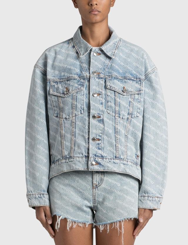 Alexander Wang.T Logo Print Falling Back Jacket Blue Women