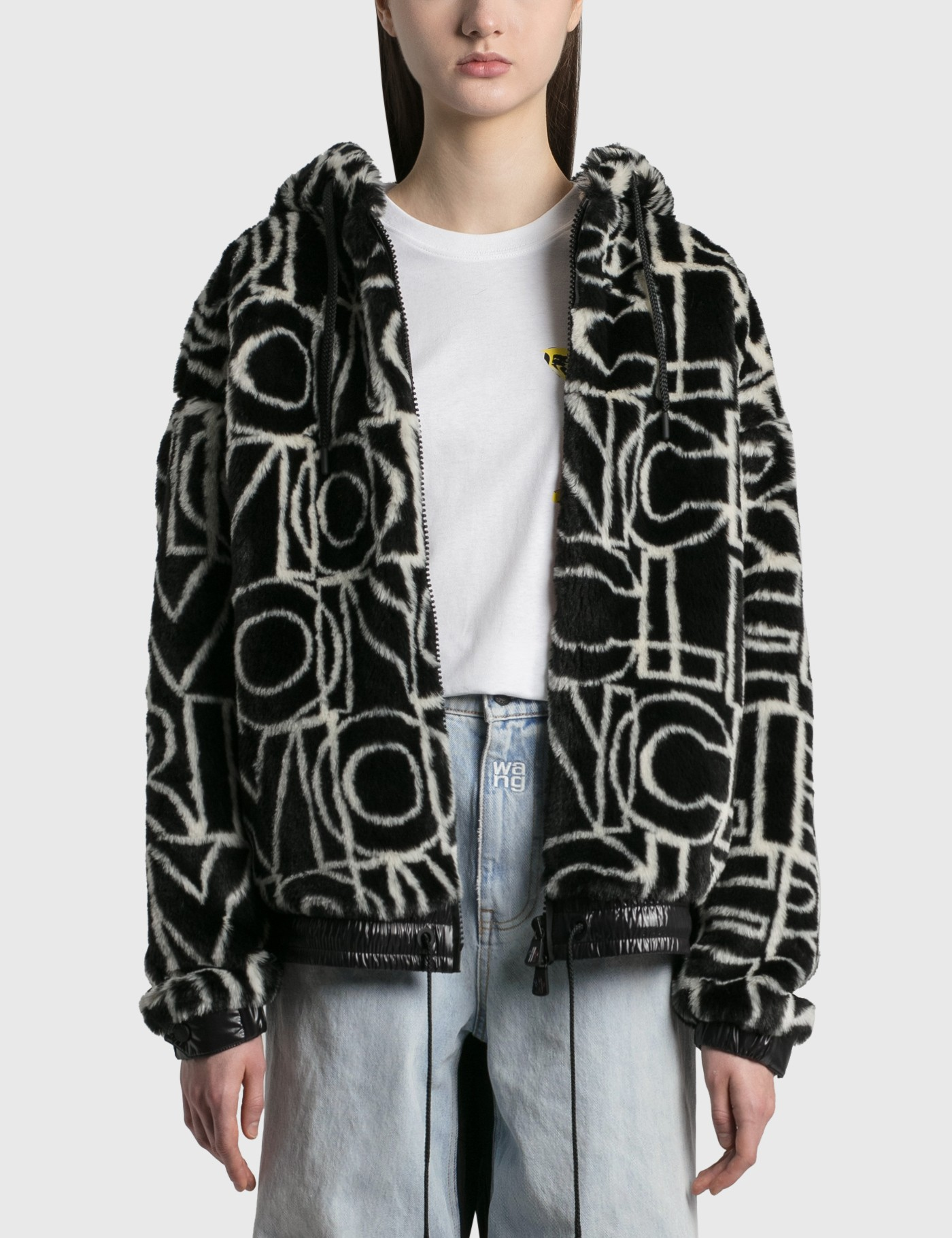 All Over Graphic Moncler Shearling Zip Jacket