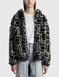 Moncler All Over Graphic Moncler Shearling Zip Jacket Black Women