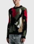 Saint Laurent Camo Print Wool And Mohair Blend Sweater Noir/multicolore Men