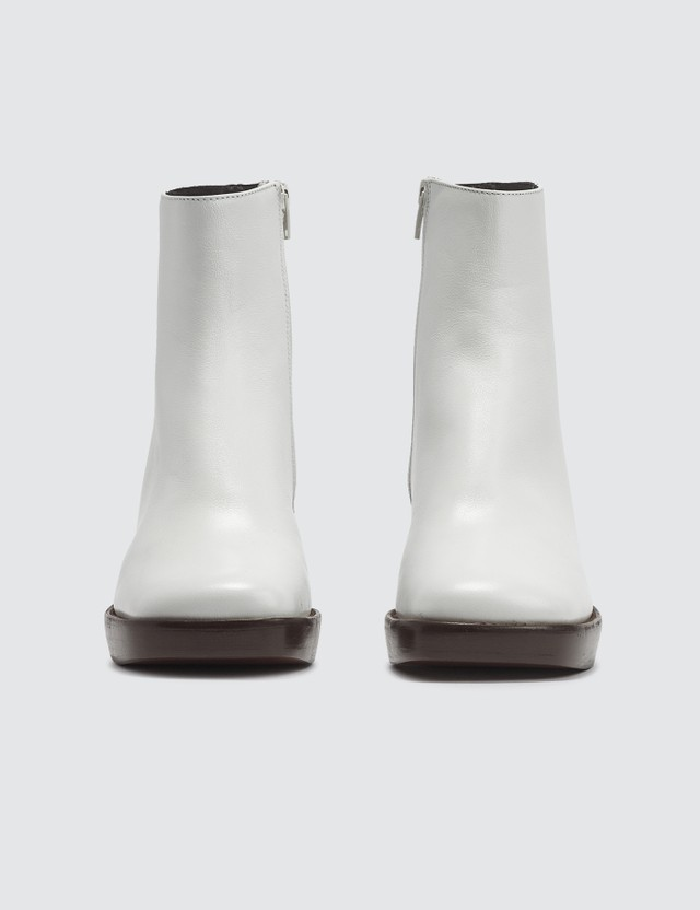 BY FAR Ellen White Leather Boots