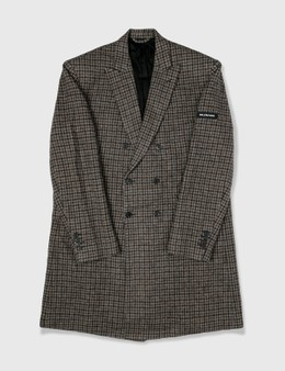 Balenciaga Balenciaga Wool Check Trench Coat