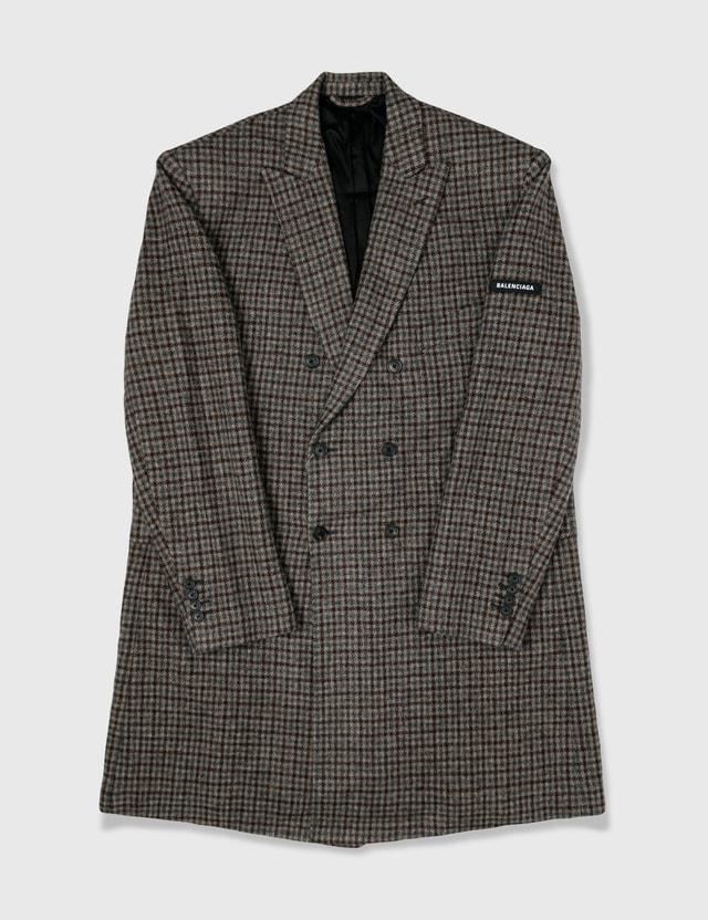 Balenciaga Balenciaga Wool Check Trench Coat Grey Archives