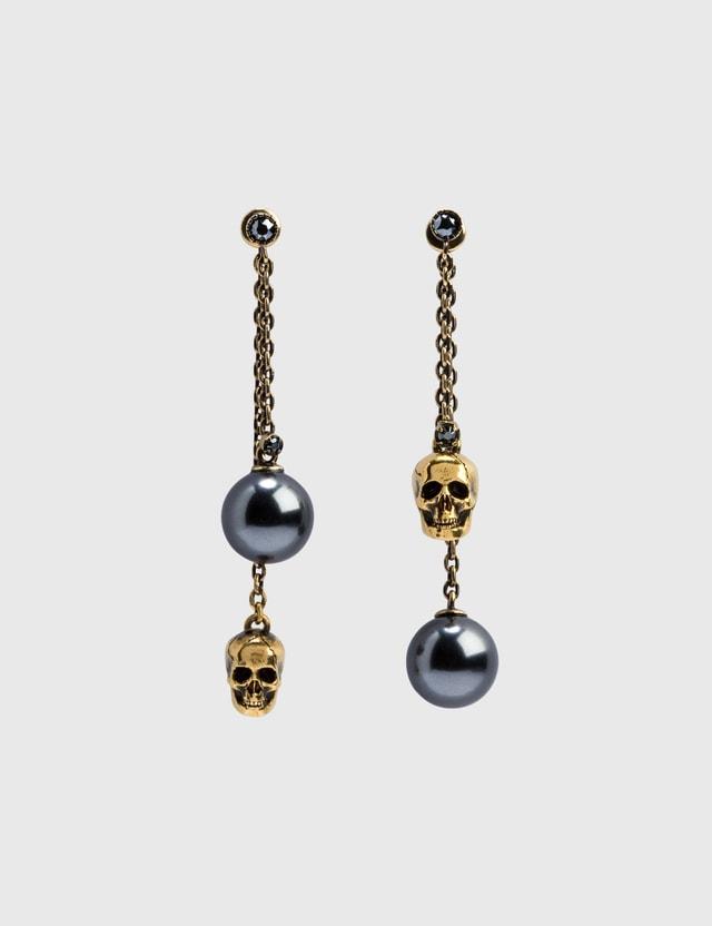 Alexander McQueen Pearl-like Skull Chain Drop Earring Mix Women