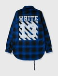 Off-White Off-white Oversize Wool Check Shirt Blue Archives