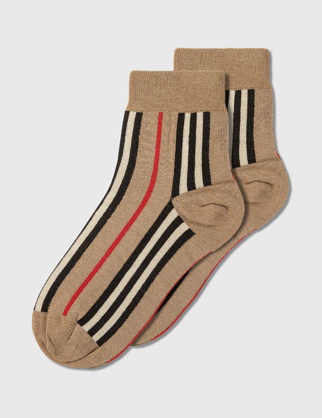 Burberry Vintage Stripe Short Socks Archive Beige Women