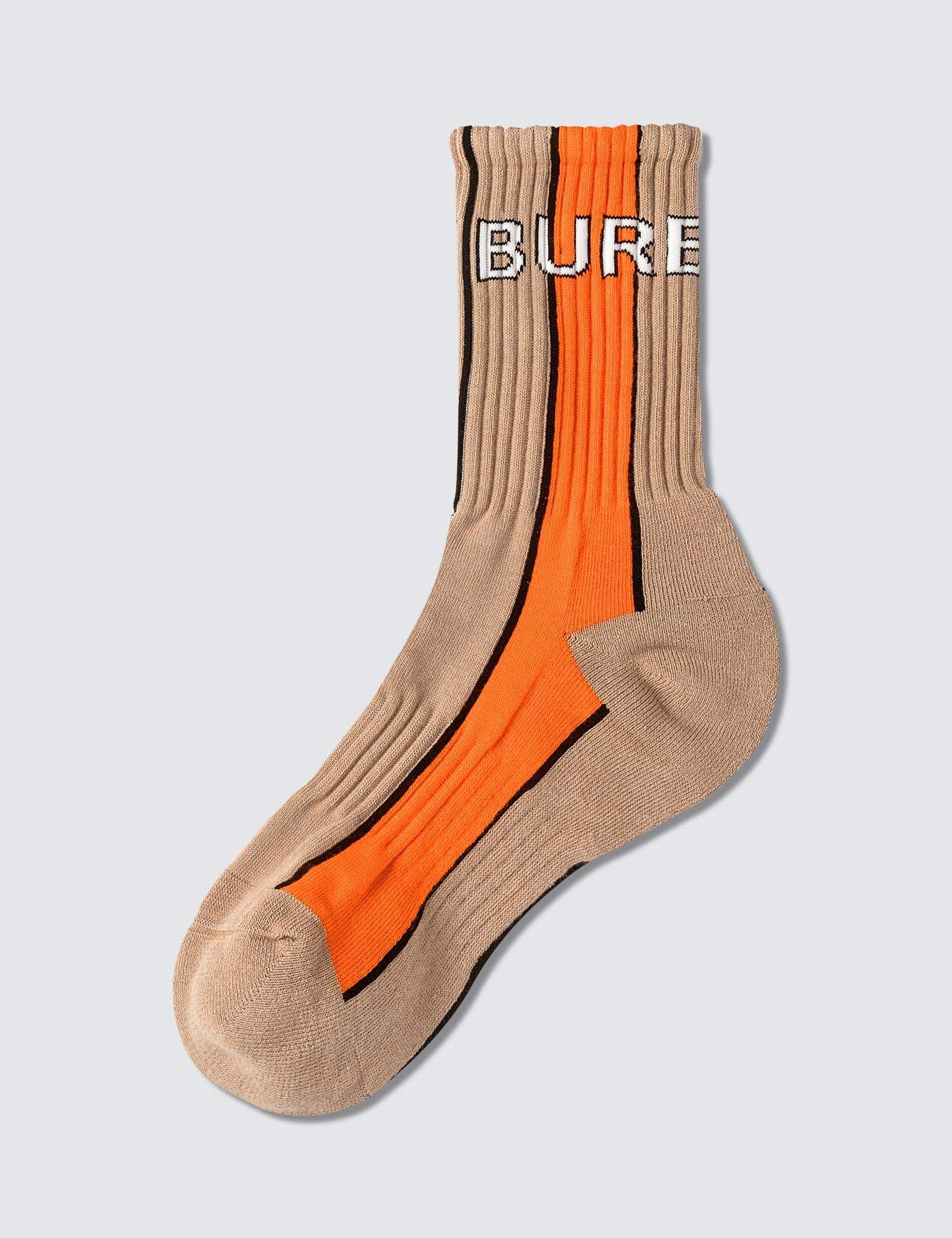 Burberry Logo Intarsia Striped Cotton Blend Socks