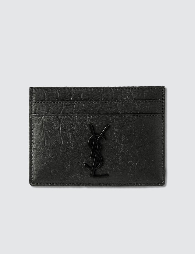 Saint Laurent Monogram Croc Card Holder