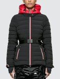 Moncler Belted Down Jacket With Stripe Detail Picture