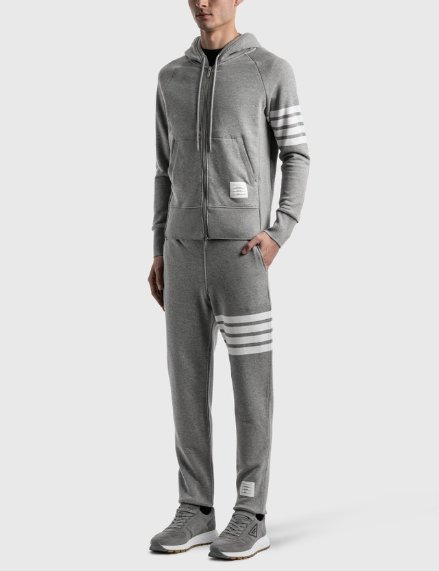Thom Browne Classic Full Zip Hoodie Light Grey Men